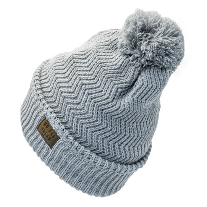 807c8b65341 No Bad Ideas - Redford Beanie Puff Ball Hat w  Leather Patch - Back