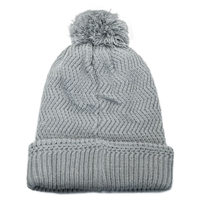 No Bad Ideas - Redford Beanie Puff Ball Hat w  Leather Patch - Back 6689a4d3c7c