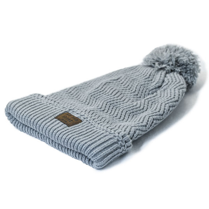No Bad Ideas - Redford Beanie Puff Ball Hat w  Leather Patch - Flat 88abe1be916c