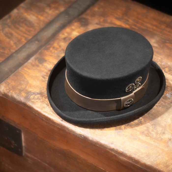 Conner - Black Low Crown Steam Punk Top Hat - Stock Image b1721aea146e
