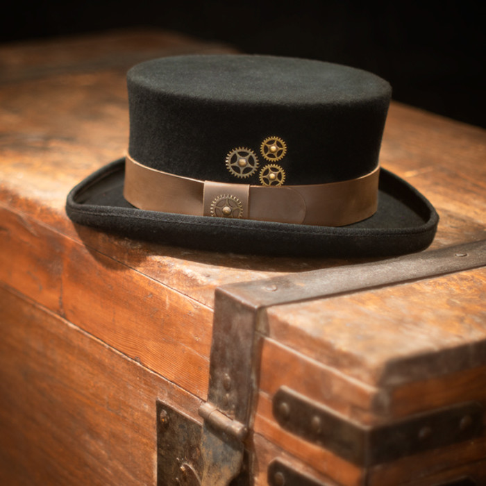 5dfb5452a1dea Conner - Low Crown Steam Punk Top Hat - Stock Image 1