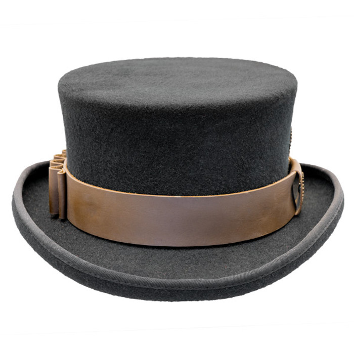 30282b8f5f14a Conner - Low Crown Steam Punk Top Hat in Black - Front