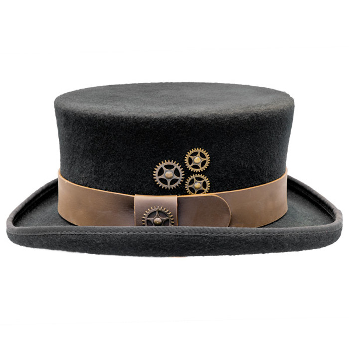 5bba76e56f8 Conner - Low Crown Steam Punk Top Hat in Black - Side