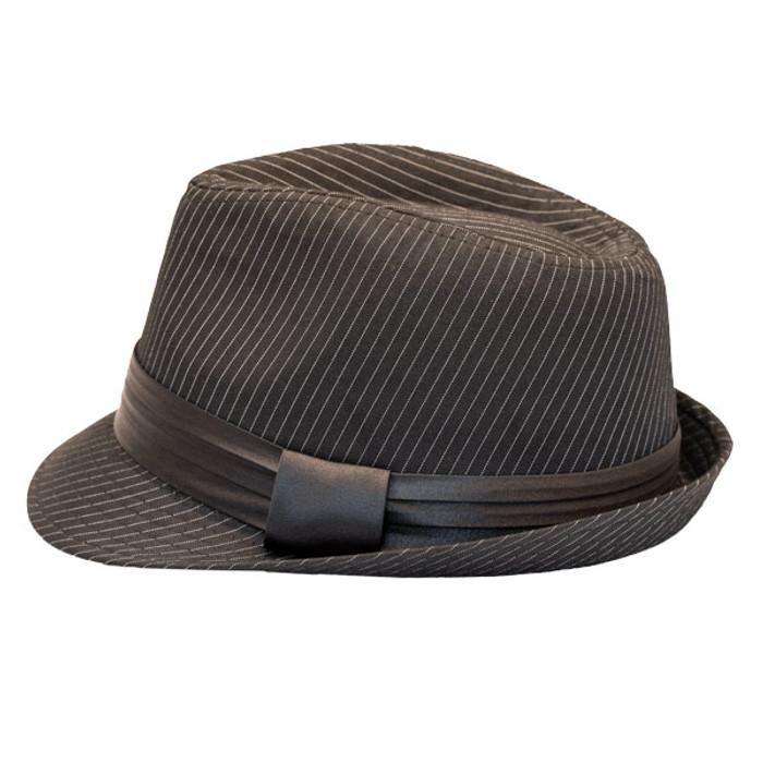 bc168078e5 Kenny K - Black on Black Pinstripe Fedora Hat - Side