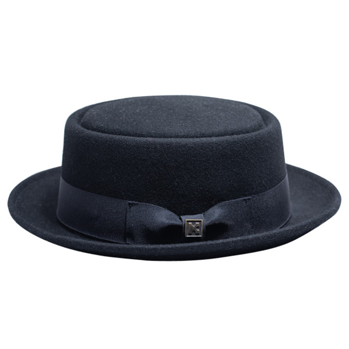 Kenny K - Heisenberg Black Wool Felt Pork Pie Hat - Side a7419bf4e1a