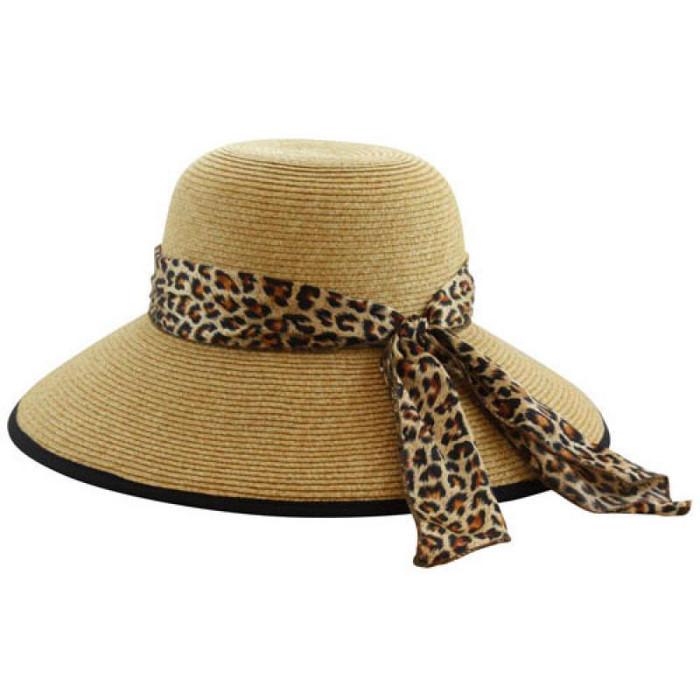 California Hat Company - Beige Wide Brim Sun Hat with Leopard Trim 12529895fbf