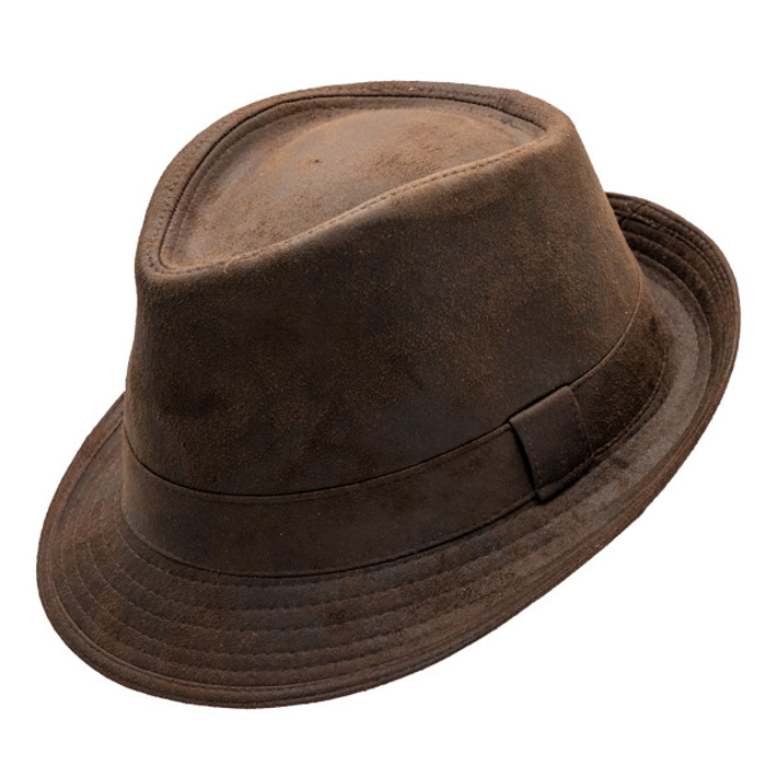 65a325a2152ef Henschel - Faux Distressed Leather Fedora - Brown