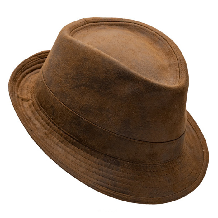 58c3b6228b22b8 Henschel - Faux Distressed Leather Fedora - Opposite Side