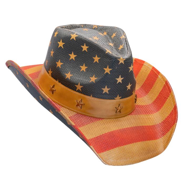 c9ade9daf California Hat Company - Vintage American Flag Cowboy Hat - Opposite Side
