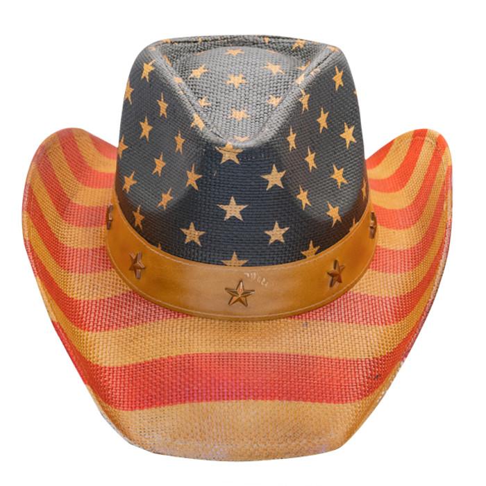 d445013c07136 California Hat Company - Vintage American Flag Cowboy Hat - Front