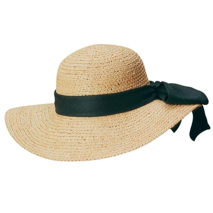 90376ce15 Scala - Big Brim Raffia Hat with Linen Band