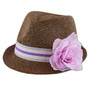 Something Special - Purple Straw Fedora with Ribbon and Flower