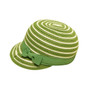 Boardwalk Style - Kids Striped Straw Cap in Lime - Full View