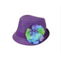 Boardwalk Style Girls Straw Fedora with Silk Flower in Purple - Full View