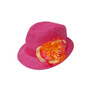 Boardwalk Style Girls Straw Fedora with Silk Flower in Fuchsia - Full View