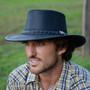 Conner - Black Stockman Oily Australian Leather Hat - Model