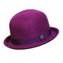 Conner - St. George Wool Bowler Hat in Plum - Full View