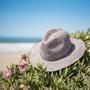 Sun 'N' Sand - Raffia Wide Brim Fedora Hat Blue - Stock Image 1