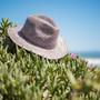Sun 'N' Sand - Raffia Wide brim Fedora Hat Blue - Stock Image 2