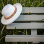 Sun 'N' Sand - Braided Up-Brim Beaded Hat in White - Stock Image