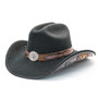 Stampede Hats - Lone Star Black Felt Western Hat with Brown Embossed Trim -  Main