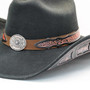 Stampede Hats - Lone Star Black Felt Western Hat with Brown Embossed Trim -  Close Up