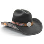 Stampede Hats - Lone Star Black Felt Western Hat with Brown Embossed Trim -  Opposite Side