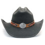 Stampede Hats - Lone Star Black Felt Western Hat with Brown Embossed Trim -  Front