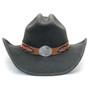 Stampede Hats - Lone Star Black Felt Western Hat with Brown Embossed Trim -  Front