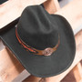 Stampede Hats - Lone Star Black Felt Western Hat with Brown Embossed Trim -  Stock Image