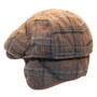 Henschel - Wool Blend Flat Cap with Ear Flaps in Brown - Back/Unfolded
