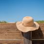 Sun 'N' Sand Crochet Raffia Floppy Flat Brim Hat - Stock Image 1