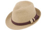 Jeanne Simmons - Tan Tweed Fedora Hat