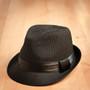 Kenny K - Black on Black Pinstripe Fedora Hat