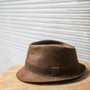 Henschel - Faux Distressed Leather Fedora -  Stock Image 1