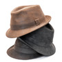 Henschel - Faux Distressed Leather Fedora - Stock Image 2