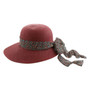 California Hat Company - Burgundy Ladies Straw Hat with Flower Ribbon