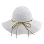 California Hat Company - White Short Brim Ribbon Hat