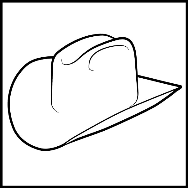 Cattleman Cowboy Hat Outline