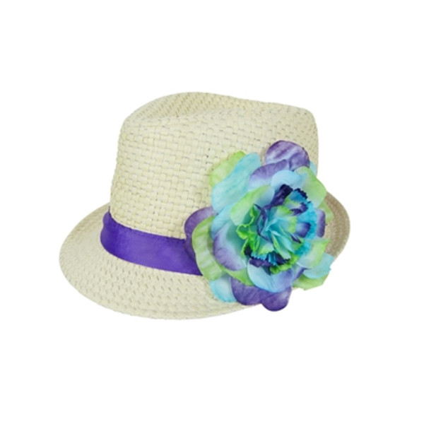 2486eb16 Boardwalk Style | Girls Straw Fedora with Silk Flower | Hats Unlimited