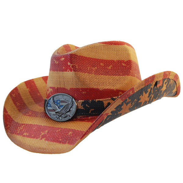 5b9dddf2ed7a5 Previous. California Hat Company - Vintage American Flag Cowboy Hat With ...