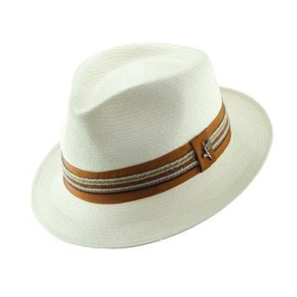 b6eccb78bdf Dorfman Pacific - Santana by Carlos Santana Shantung Straw Fedora Hat in  Natural - Full View