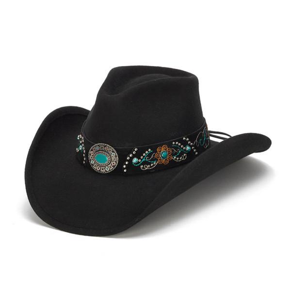 27418017 Stampede Hats | Turquoise Blue Stone Felt Cowboy Hat | Hats Unlimited
