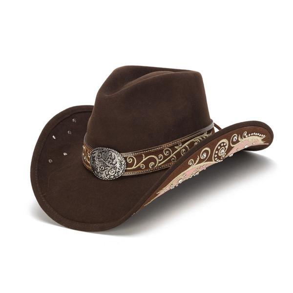 d6536ab36c805 Stampede Hats - Filigree Brown Rhinestone Felt Cowboy Hat - Front Angle