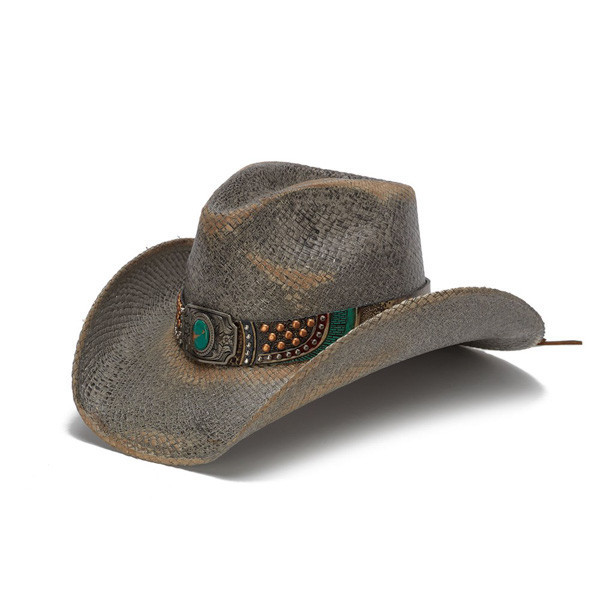 Stampede Hats - Studded Turquoise Blue Stone Cowboy Hat - Front Angle 5fefa7e9ad0