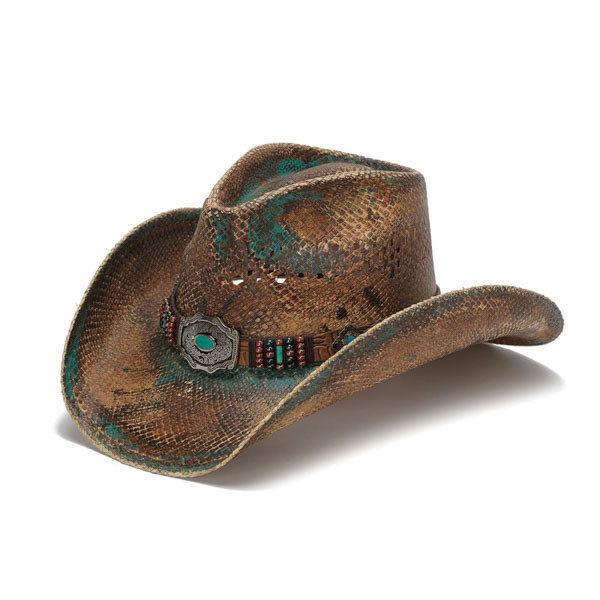 Stampede Hats - Blue Stained Straw Cowboy Hat with Beadwork and Turquoise -  Front Angle ffb4656608e