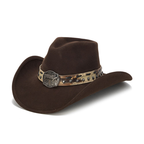 2f92b632a19e91 Stampede Hats | Brown Cowboy Concho Western Felt Hat | Hats Unlimited