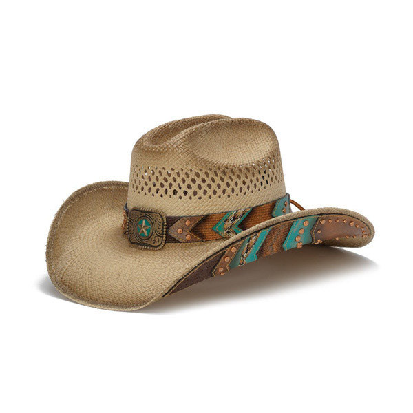 2aa7913e49836 Stampede Hats - Brown and Turquoise Lone Star Western Hat with Chevron  Pattern - Front Angle