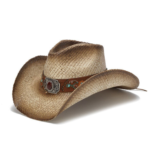 Stampede Hats - Brownstone and Turquoise Embroidered Cowboy Hat - Front  Angle 4d89bf7ecbd
