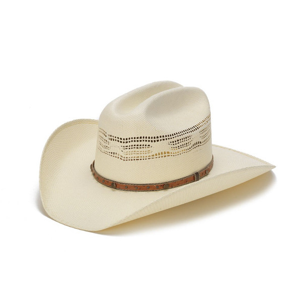 0ec5eeca074 Stampede Hats - 50X Bangora Straw Western Hat with Studded Leather Trim -  Front Angle